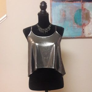 Charlotte Russe/ Metallic Silver/  Cami /Tank Top